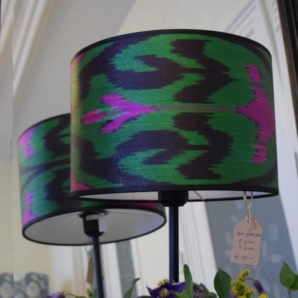 Roze-groene ikat zijden lampenkap