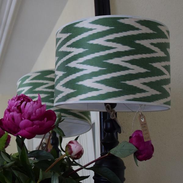 Groene ikat zijden lampenkap