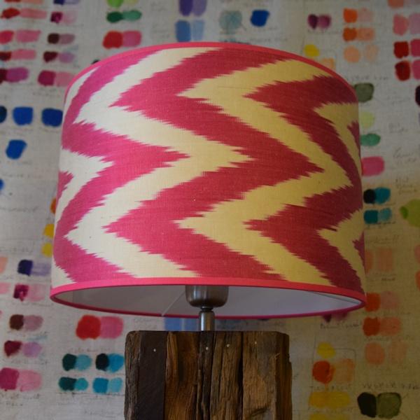 Lampenkappen roze zigzag ikat