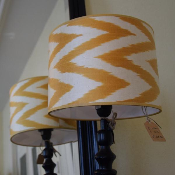 Goudgeel zigzag lampenkap van zijde