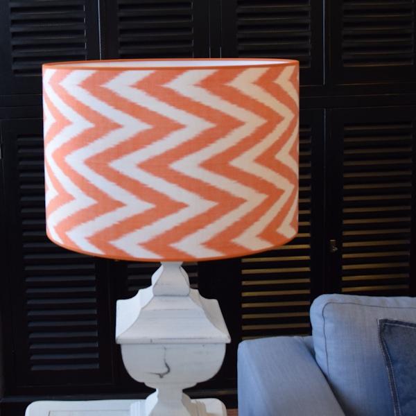 Oranje zijden ikat lampenkap