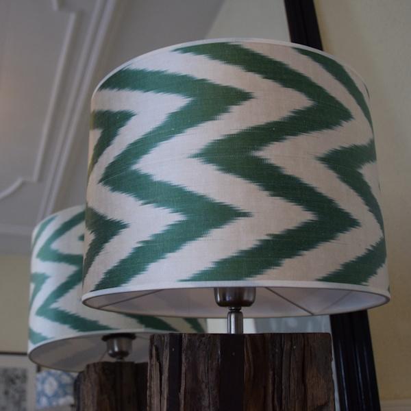 Groene zigzag zijden lampenkap