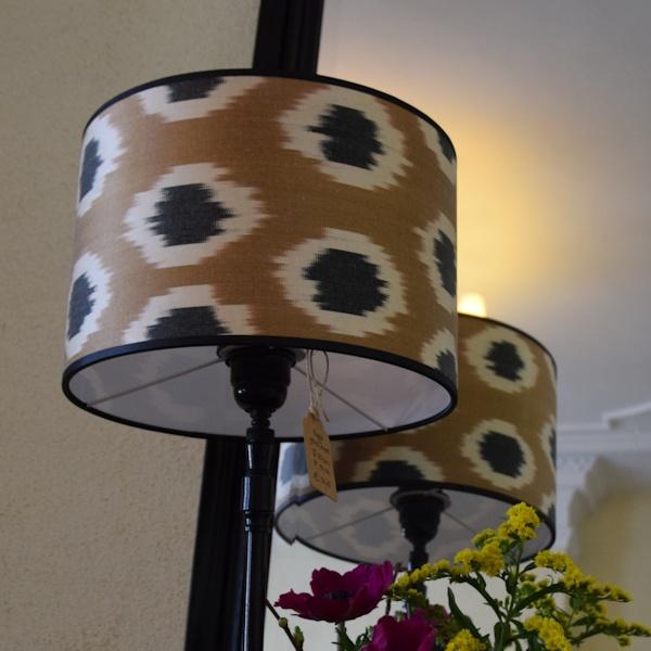 Goudkleurige ikat zijden lampenkap
