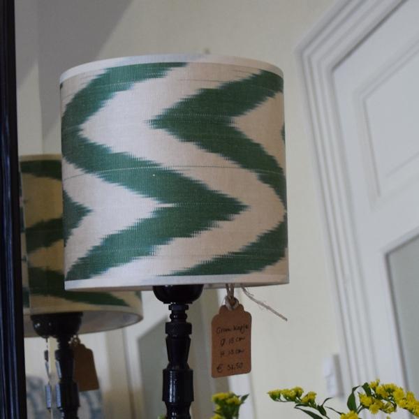 Groen zigzag zijden lampenkapje