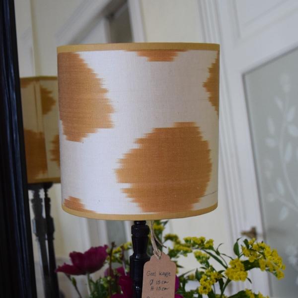 Goudgeel zijden ikat lampenkapje