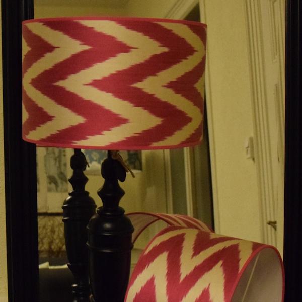 Ikat zijden roze zigzag lampenkappen