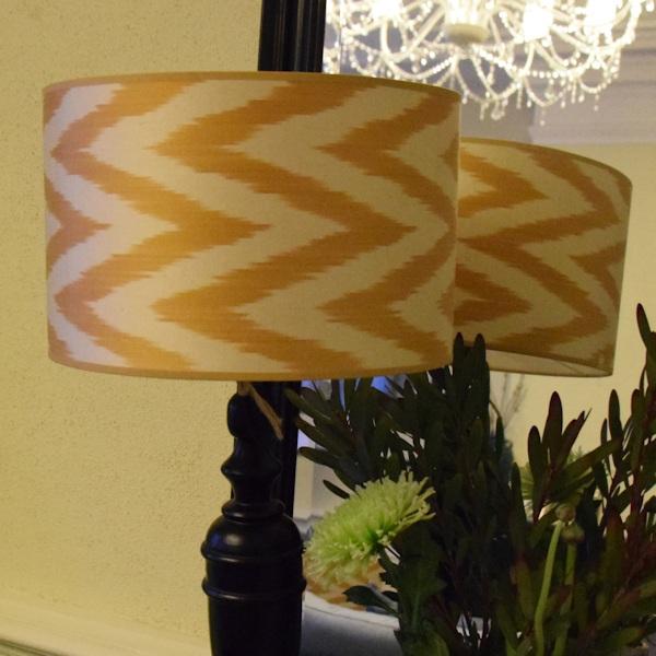 Goudgele zijden ikat lampenkap